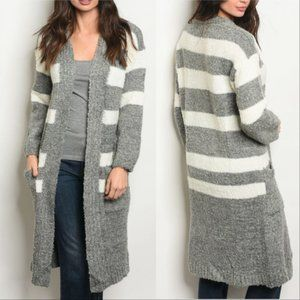 Sweaters - GRAY WITH IVORY STRIPES CARDIGAN